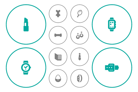 Set Of 12 Accessories Icons Set.Collection Of Bow Tie, Smart Watch, Looking-Glass And Other Elements. Иллюстрация