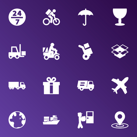 Set Of 16 Shipment Icons Set.Collection Of Goblet, Transportation, Service And Other Elements.