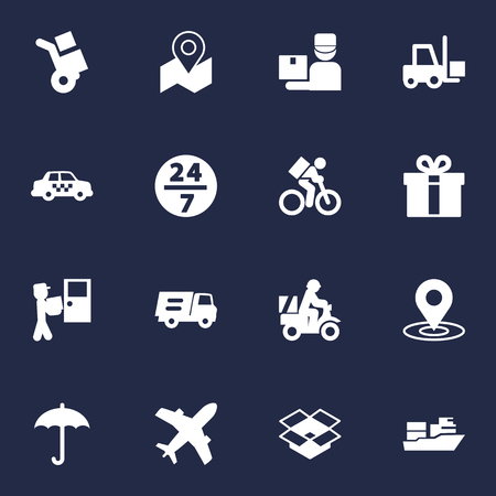 Set Of 16 Shipment Icons Set.Collection Of Present, Courier, Umbrella And Other Elements.