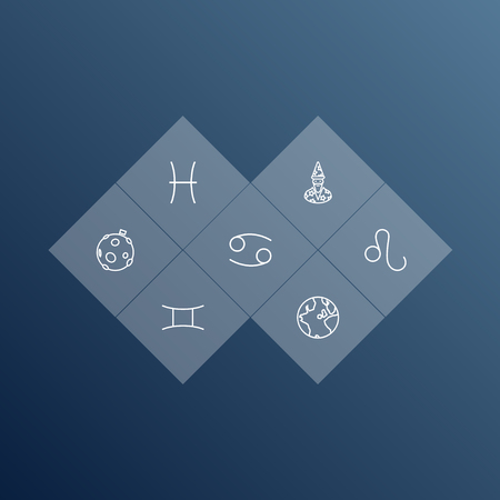 Set Of 7 Galaxy Outline Icons Set.Collection Of Cancer, Globe, Astrologer And Other Elements. Illustration