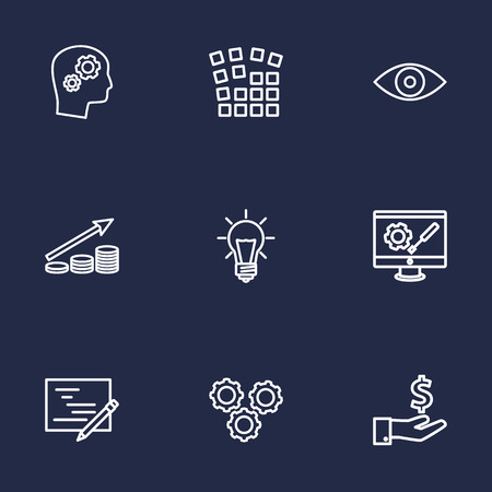 preference: Set Of 9 Idea Outline Icons Set.Collection Of Money Saving, Planning, Idea And Other Elements.