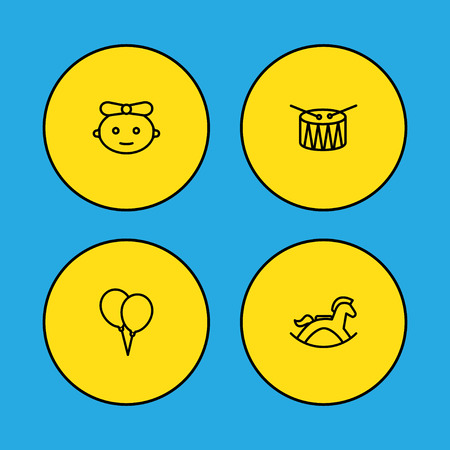 Set Of 4 Child Outline Icons Set.Collection Of Baby, Balloon, Rocking Horse And Other Elements.