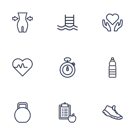 Set Of 9 Fitness Outline Icons Set.Collection Of Pulse, Diet, Weight Loss And Other Elements.