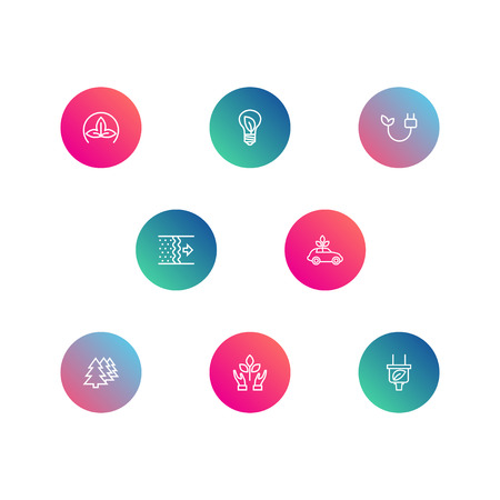 Set Of 8 Ecology Outline Icons Set.Collection Of Afforestation, Air, Eco And Other Elements.