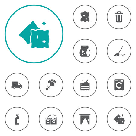 Set Of 12 Cleanup Icons Set.Collection Of Shipping, Besom, Washhouse And Other Elements. Illustration