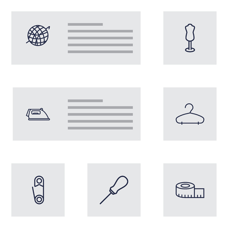 Set Of 7 Sewing Outline Icons Set.Collection Of Measuring Tape, Hanger, Safety Pin And Other Elements.