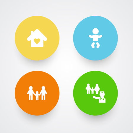 Set Of 4 People Icons Set.Collection Of Lgbt Family, House, Kid And Other Elements. Ilustração