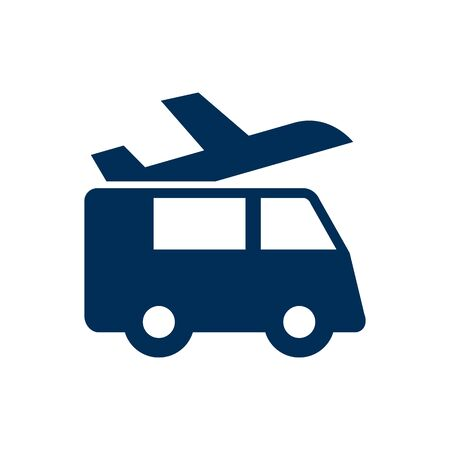 Isolated Airport Shuttle Icon Symbol On Clean Background. Vector Transportation Element In Trendy Style. Illustration