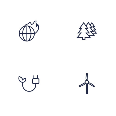 Set Of 4 Ecology Outline Icons Set.Collection Of Afforestation, Wind Turbine, Global Warming And Other Elements.