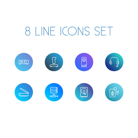 Set Of 8 Laptop Outline Icons Set.Collection Of Hdd, Powerbank, Server And Other Elements. Illustration