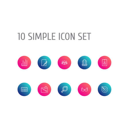 Set Of 10 Business Outline Icons Set.Collection Of Team, Badge, Calendar And Other Elements.