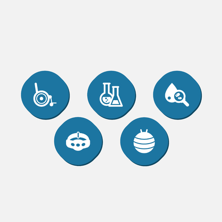 Set Of 5 Healthy Icons Set.Collection Of Blood Analysis, Pilates, Handicapped Elements.