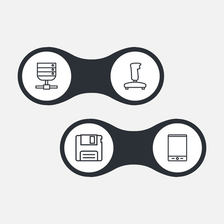 Set Of 4 Computer Outline Icons Set.Collection Of Gamepad, Server, Floppy And Other Elements.
