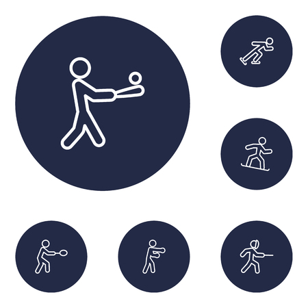 Set Of 6 Athletic Outline Icons Set.Collection Of Batting, Ice Skating, Swordplay And Other Elements. Illustration