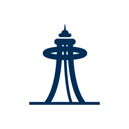 Isolated Space Needle Icon Symbol On Clean Background. Vector Seattle Element In Trendy Style.
