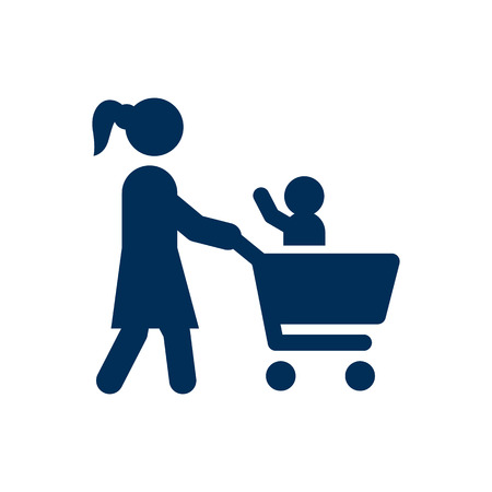 mujer en el supermercado: Isolated Shopping Icon Symbol On Clean Background. Vector Supermarket Element In Trendy Style.