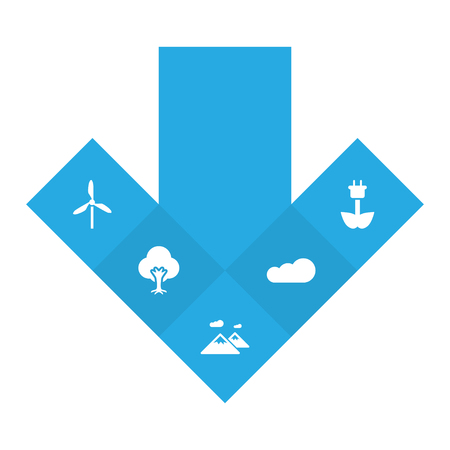 Set Of 5 Nature Icons Set.Collection Of Green Power, Pinnacle, Wind Energy And Other Elements.