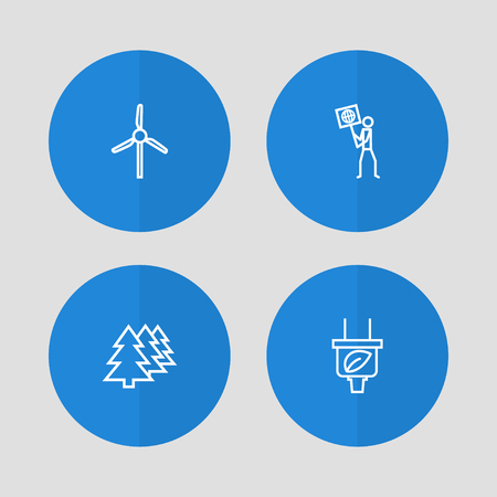 Set Of 4 Ecology Outline Icons Set.Collection Of Wind Turbine, Afforestation, Ecologist And Other Elements. Illustration