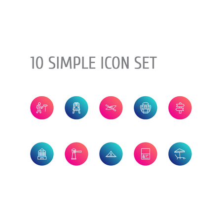Set Of 10 Travel Outline Icons Set.Collection Of Direction, Front View Tram, Building And Other Elements.