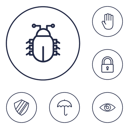 aegis: Set Of 6 Procuring Outline Icons Set.Collection Of Protection , Vision , Hand Elements.