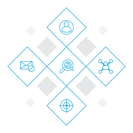 Set Of 5 Optimization Outline Icons Set.Collection Of Stock Exchange, Wrench, Goal And Other Elements.