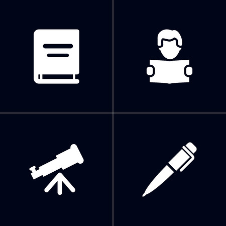 Set Of 4 Education Icons Set.Collection Of Reading, Binoculars, Ink And Other Elements.