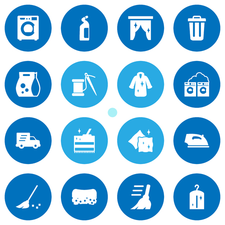 Set Of 16 Cleanup Icons Set.Collection Of Iron, Cleaning, Washhouse And Other Elements.