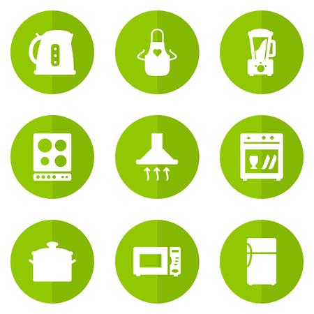 Verzameling van Squeezer, afzuigkap, koelkast en andere elementen. Set van 9 koken Icons Set.