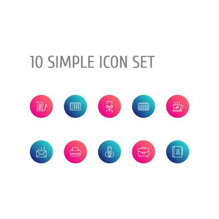 Set Of 10 Work Outline Icons.