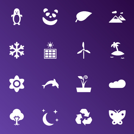 Set Of 16 Bio Icons Set.Collection Of Midnight, Pinnacle, Wind Energy And Other Elements. Illustration