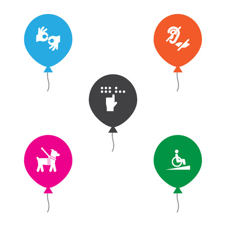 Set Of 5 Disabled Icons Set.Collection Of Braille, Pet, Gesture And Other Elements.