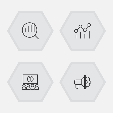 Set Of 4 Trade Outline Icons Set.Collection Of Research, Audience, Advertising Agency And Other Elements.