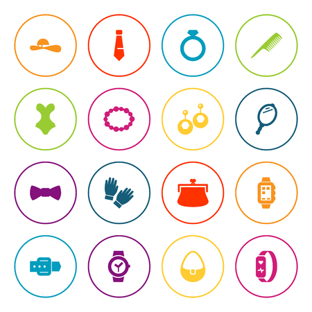 Set Of 16 Decorating Icons Set.Collection Of Woman Hat, Beachwear, Smart Watch And Other Elements.