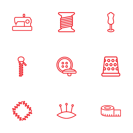Set Of 9 Tailor Outline Icons Set.Collection Of Bobbin, Patch, Pincushion And Other Elements. Illustration