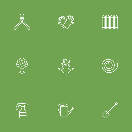 Set Of 9 Household Outline Icons Set.Collection Of Shears, Palisade, Bailer And Other Elements. Illustration