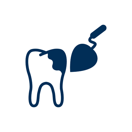 Isolated Tooth Reconstruction Icon Symbol On Clean Background. Vector Procedure Element In Trendy Style. Illustration
