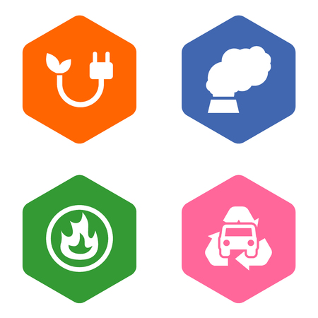Set Of 4 Atmosphere Icons Set.Collection Of Trash, Contamination, Energy And Other Elements.