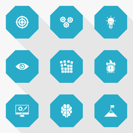 preference: Set Of 9 Business Icons Set.Collection Of Intelligence, Bulb, Startup Building And Other Elements. Illustration