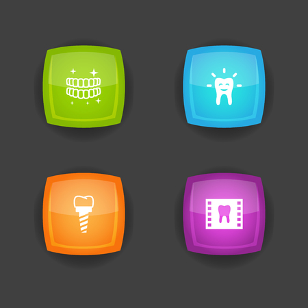 Set Of 4 Teeth Icons Set.Collection Of Tooth, Hygiene, Roentgen And Other Elements. Ilustrace