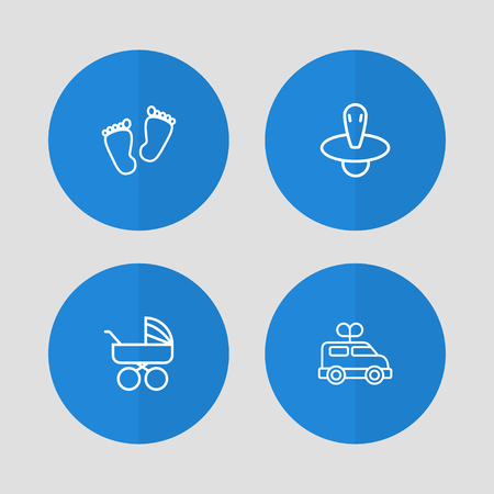 Set Of 4 Kid Outline Icons Set.Collection Of Carriage, Footprints, Clockwork Car And Other Elements.