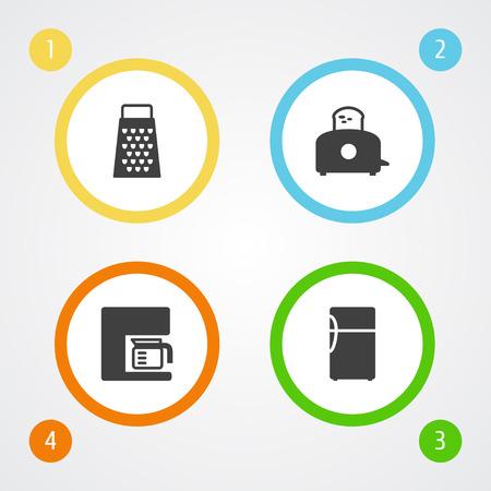 Set Of 4 Kitchen Icons Set.Collection Of Refrigerator, Slicer, Espresso And Other Elements. Illustration