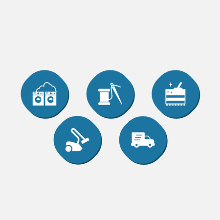 car wash: Set Of 5 Harvesting Icons Set.Collection Of Washhouse, Cleaning, Shipping And Other Elements.