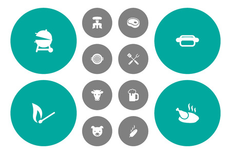 Set Of 12 Barbecue Icons Set.Collection Of Restaurant, Fast Food, Chicken And Other Elements. Illustration