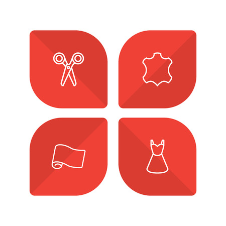 Set Of 4 Tailor Outline Icons Set.Collection Of Leather, Fabric, Dress And Other Elements.