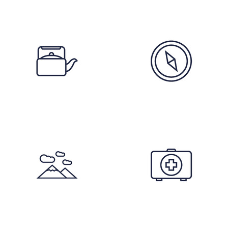 Set Of 4 Picnic Outline Icons Set.Collection Of Medical Kit, Mountains, Teapot And Other Elements.