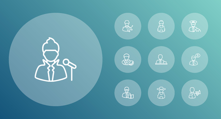 Set Of 10 Job Outline Icons Set.Collection Of Teacher, Soldier, Worker And Other Elements.