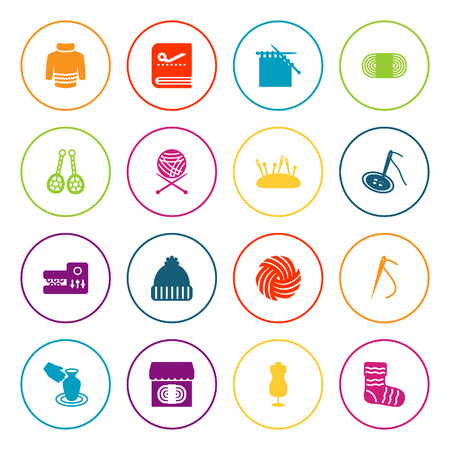 Set Of 16 Handcraft Icons Set.Collection Of Pincushion, Jewelry, Store And Other Elements. Illustration