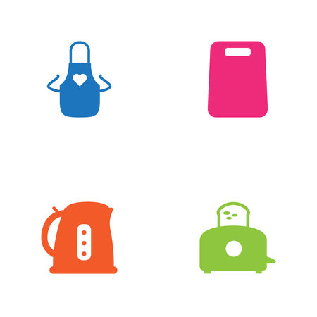 cleaning kitchen: Set Of 4 Kitchen Icons Set.Collection Of Cutting, Bread Heater, Electric Teapot And Other Elements.