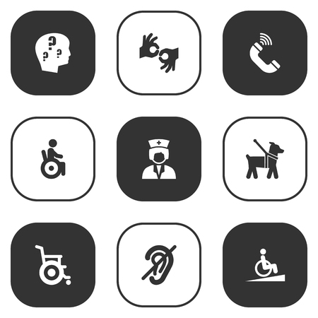 Set Of 9 Accessibility Icons Set.Collection Of Hard Of Hearing, Gesture, Brain With Question And Other Elements.