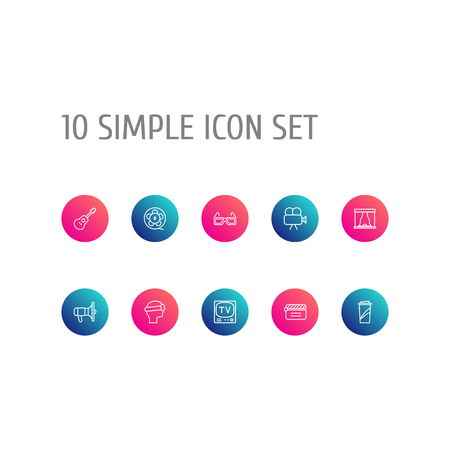 Set Of 10 Amusement Outline Icons Set.Collection Of Clapperboard, Guitar, Tv Set And Other Elements. Illustration